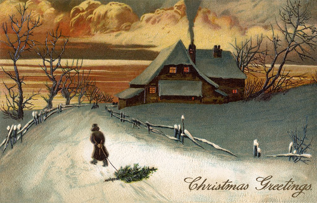 Rural Christmas Scenic at Dusk (1909)